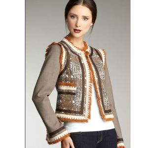 Tory Burch Quincey Fringe Jacket in Brown size 8